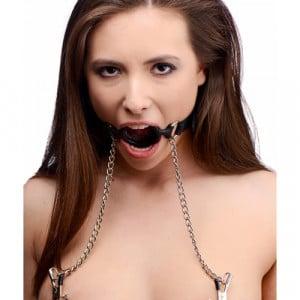 Mutiny Siliconen O-Ring Gag Met Tepelklemmen Voorbeeld BDSM SM toys