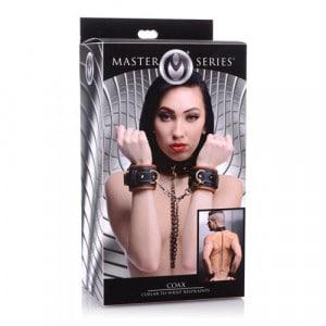 Coax Leren Halsband Boeien Zwart/Cognac BDSM bondage handboeien verpakking