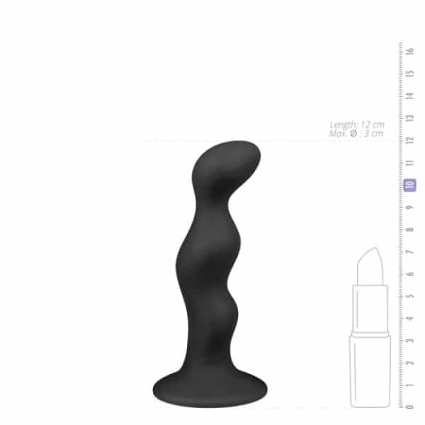 Geribbelde zwarte siliconen anaal dildo afmeting