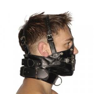 Streng uitziende lederen premium muilkorf met blinddoek en knevel zijkant BDSM SM Toys