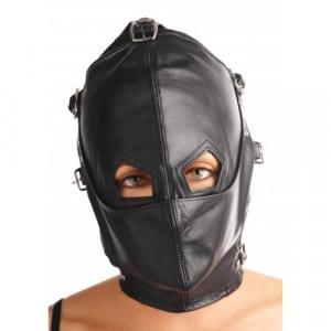 Lederen kap met afneembare blinddoek en snuit mond gesloten BDSM bondage maskers