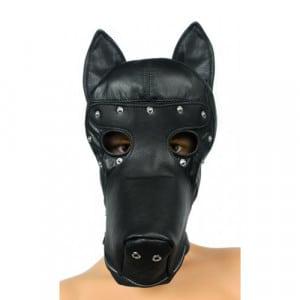 Speelse hondenkop kap bondage masker open