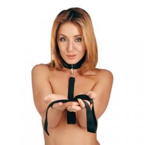 Riem en Halsband set Zwart Voorbeeld Bondage BDSM