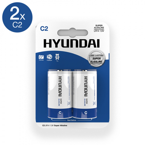 Super Alkaline C-Batterijen - 2 Stuks - Hyundai